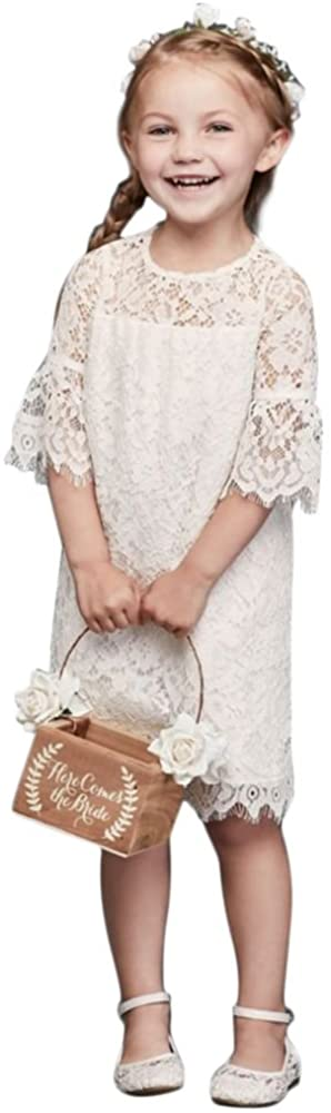 Short Lace Flower Girl/Communion Dress with Illusion Sleeves Style OP239