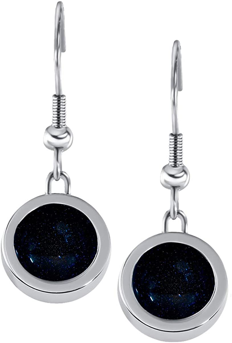 Quiges Women Earrings made of Silver Stainless Steel with Black Coloured Mini Coins and Fishhook Backings