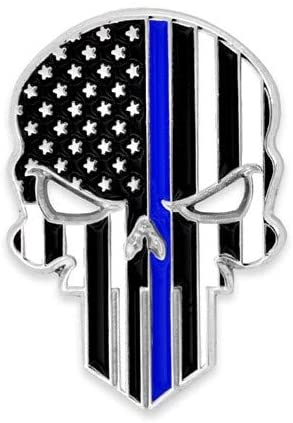 PinMart Thin Blue Line Skull Police Law American Flag Lapel Pin