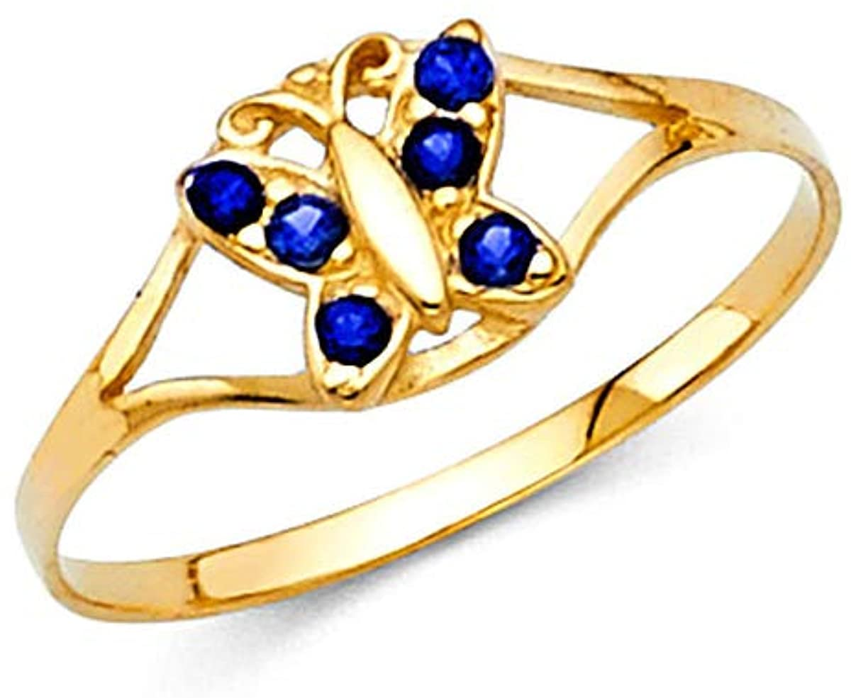 14K Real Yellow Gold 12 Months Butterfly Birth Stone Cubic Zirconia Babies Ring for Baby Girls… (September, 4.0)