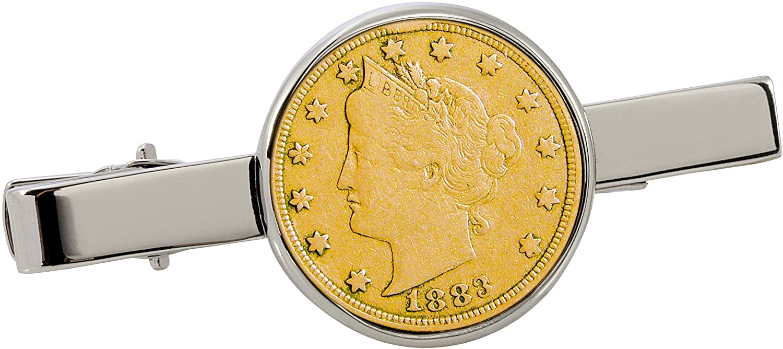 American Coin Treasures Gold-Layered 1800's Liberty Nickel Silvertone Coin Tie Clip