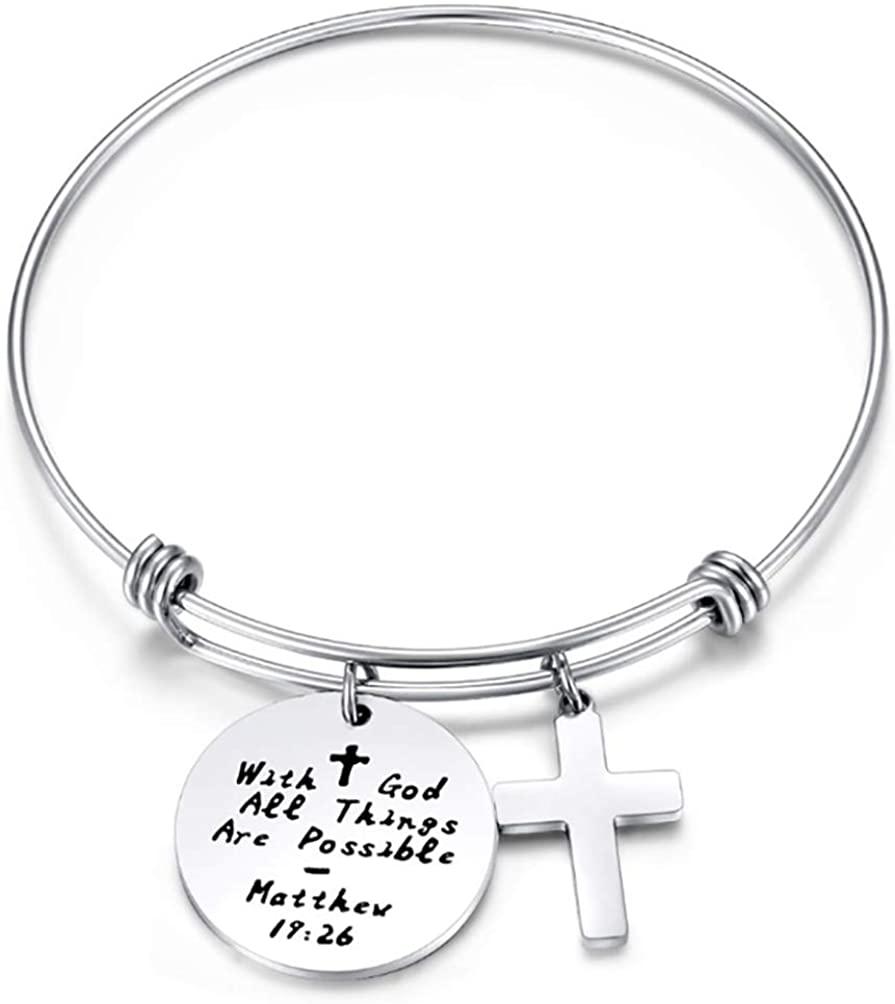 BlinkingSoul Christian Necklace Heart Bible Verse Cross Pendant Prayer Charm Necklace