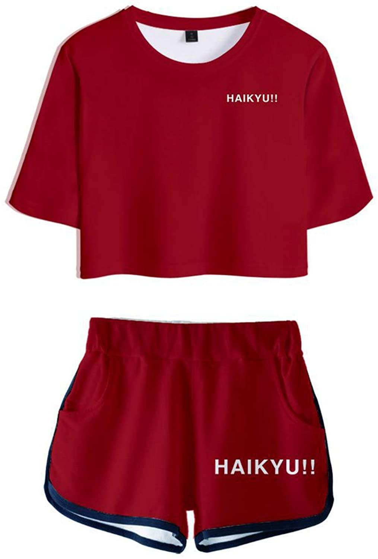 Haikyuu!! Kuroo Tetsurou Hinata Shoyo Oikawa Tooru Cosplay Costume 3D Uniform Crop Top Navel T-Shirt Shorts