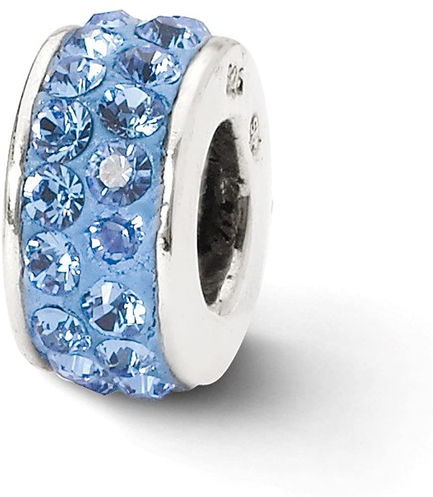 Bead Charm White Sterling Silver Stones & Crystals By Swarovski Blue 10.91 mm 4.55