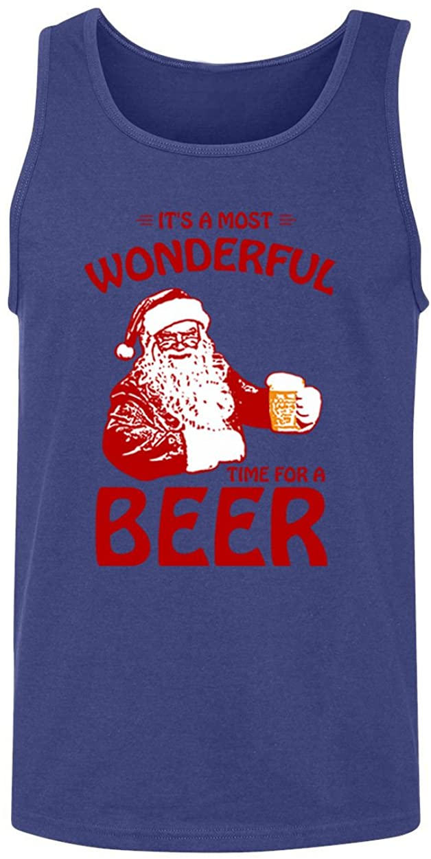 RIVEBELLA Most Wonderful Time For Beer Christmas Ugly Santa Tank Top