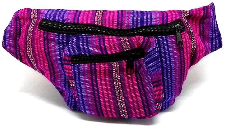 Boho Striped Woven Casual Travel Lightweight Waist Bag Fanny Pack Belt w/Adjustable Buckle Strap & Two Exterior Zipper Pockets (Thin-Hot-Pink/Purple)