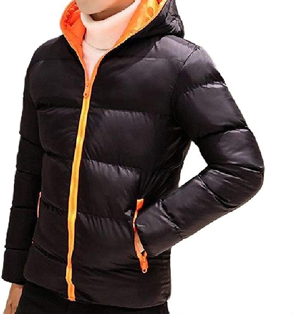 Fnbdyfjdsf Men Collision Color Workout Puffer Padded Cotton Hooded Outwear Jacket