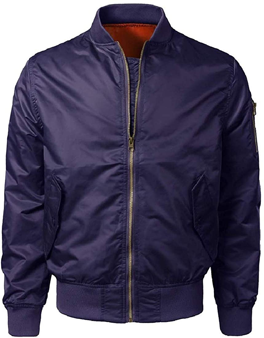 Men's Bomber Ma-1 Flight Basic Zip-Up Windbreaker Outdoor Jacket