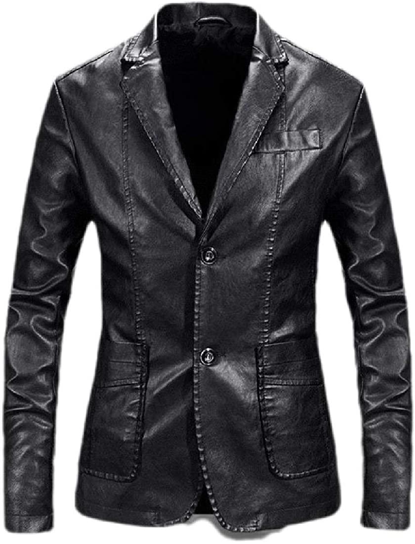 BOBOYU Men Casual Business Pu Leather Moto Biker Lapel Dress Blazer Jacket Sport Coat