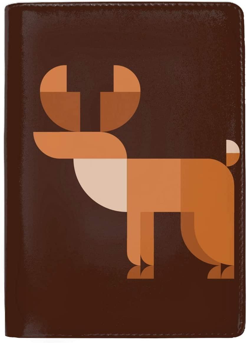 RFID Blocking Genuine Leather Passport Case Cover Holder Travel Wallet Horned Elk Geometric Design Animal Style Flat
