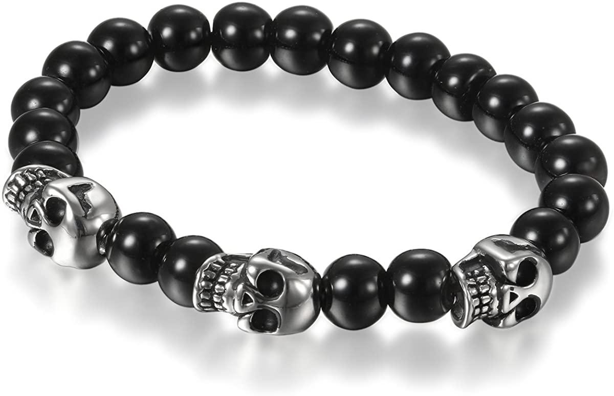 Flongo Men's Biker Stainless Steel Skull Skeleton 8MM Black Bead Stone Bracelet