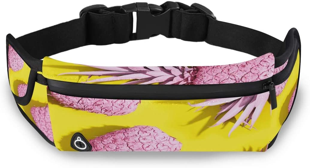 Pink Painted Pineapples On A Vivid Yellow Backgrou Waist Hiking Pack Waist Bags Women Fashion Travel Bag With Adjustable Strap For Workout Traveling Running
