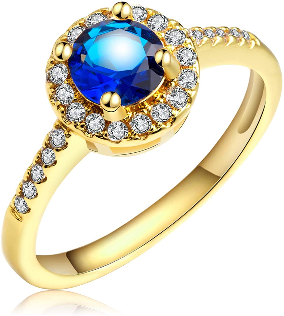 Anni Coco Wedding Jewelry 18K Gold Plated Round Cut Navy Blue Clear Cubic Zirconia CZ Ring for Women Lady Girl