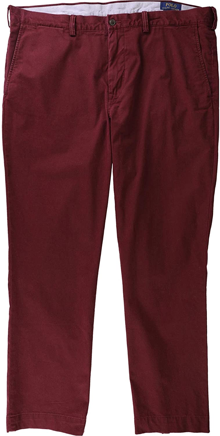 Ralph Lauren Mens Stretch Straight Casual Chino Pants, Red, 40W x 30L