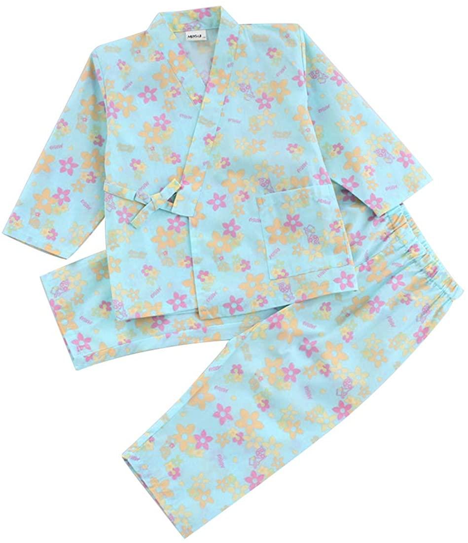 PAUBOLI Baby Girl Pajamas Pants + Kimono Shirt 2 Piece Japanese Cotton Pajamas Set 2-7T