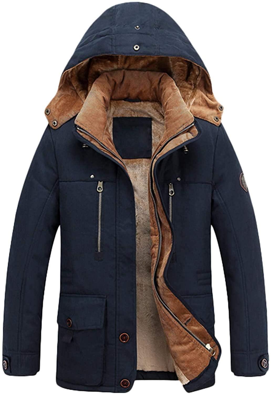 Mens Winter Hooded Thicken Fleece Lined Warm Midi Packable Parka Jacket