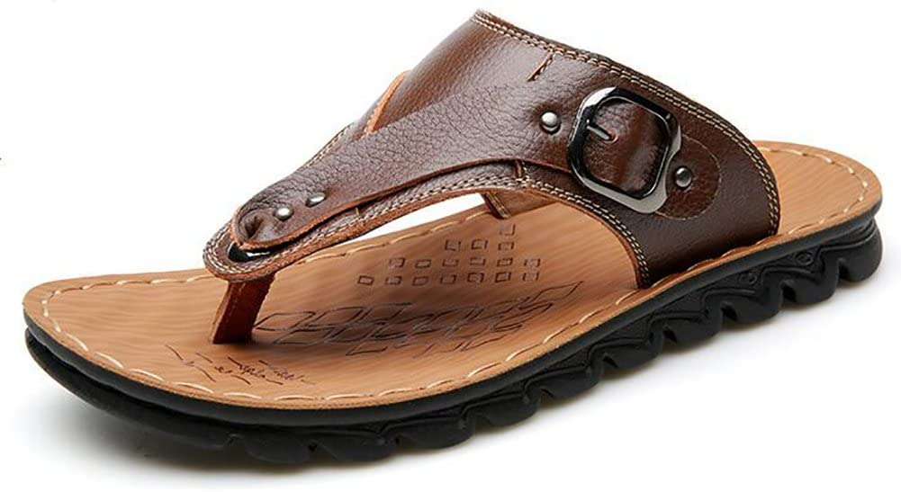 SHANGXIAN Mens Leather Flip Flop Sport Outdoor Sandals Summer Breathable Beach Surf Hiking Flip Flop,Brown,40