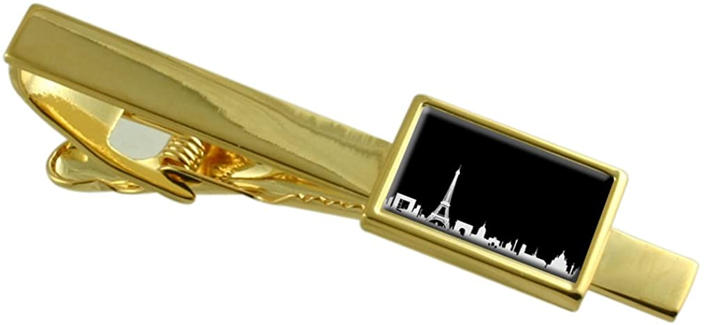 Select Gifts Paris Skyline Gold-Tone Tie Clip Engraved Message Box
