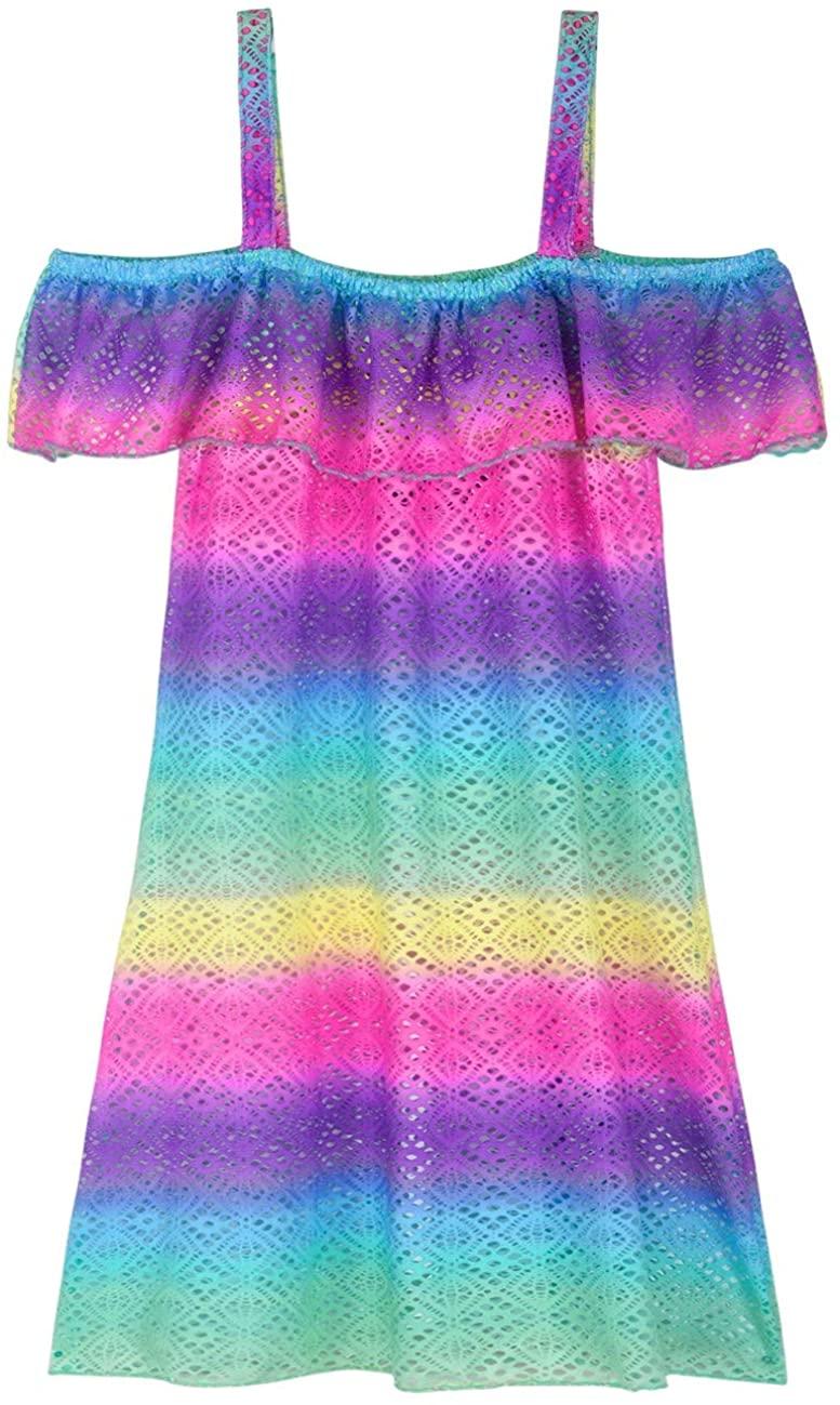Firpearl Girl's Swimsuit Cover Up Dress Off Shoulder Crochet Mesh Ruffle Beach Swimwear