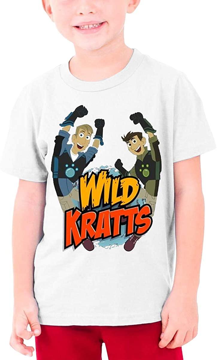AP.Room Boys and Girls Teens Short Sleeve T-Shirt Wild Kratts Logo Generous Eye-Catching Style White