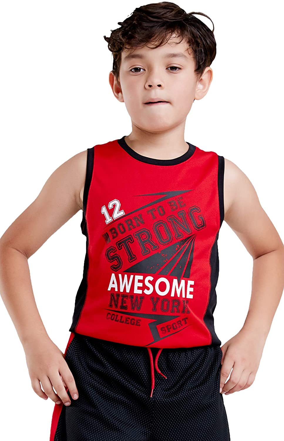 M.D.K Boys Sleeveless Cute Graphic Print Tee Active Muscle Tank Top Shirt