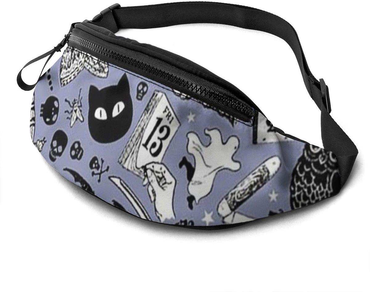 Halloween owl ghost black cats background Fanny Pack for Men Women Waist Pack Bag with Headphone Jack and Zipper Pockets Adjustable Straps