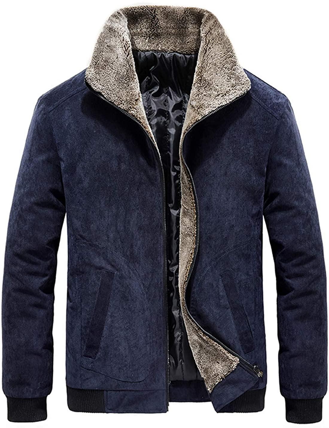 Men Solid Corduroy Loose Jacket Coat Sherpa Collar Warm Jacket Outwear Thicken