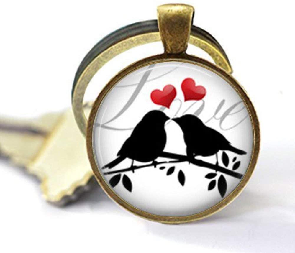 Love Birds Heart Keychain,Love Birds red Heart Love Keychain, Valentine's Day Gift Jewelry, Friend Family Gift