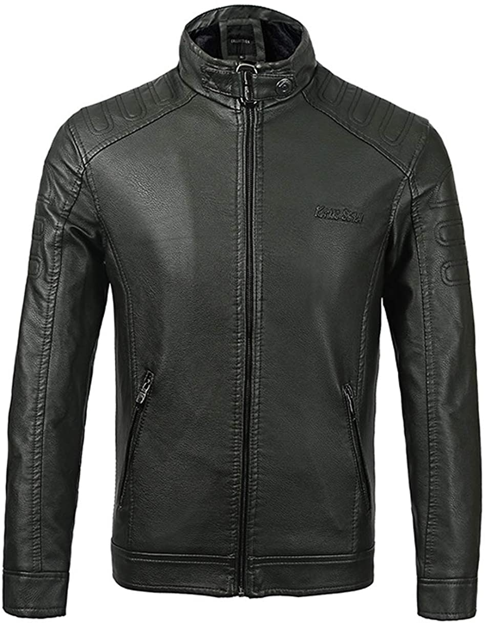 Michealboy Mens Motorcycle Jacket PU Leather Black Stand Collar Simple Style Solid Color