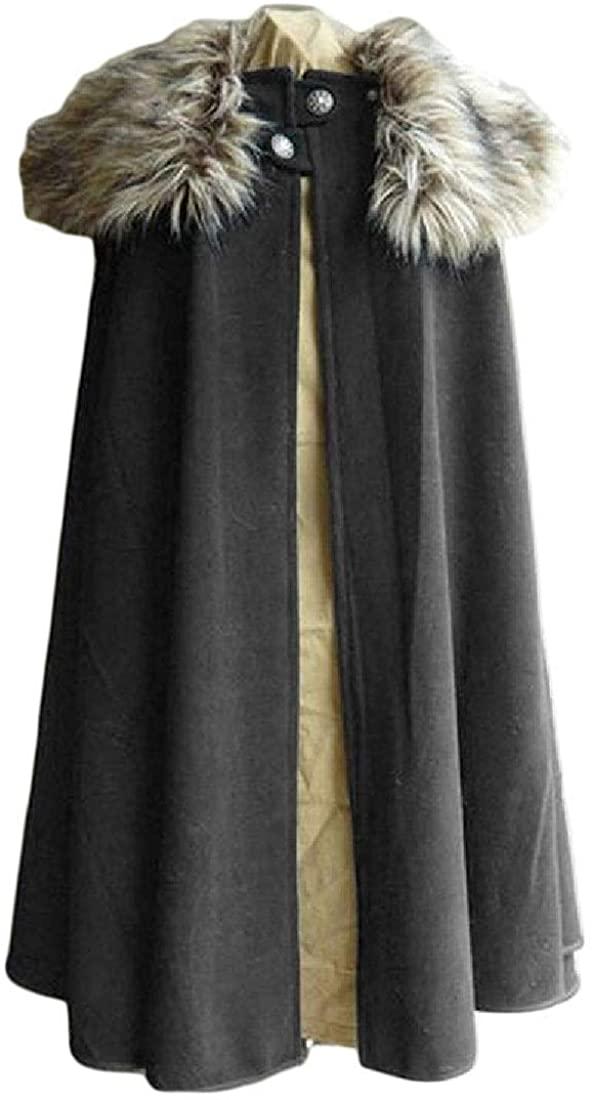 Yotoget Mens Steampunk Cloak Victorian Long-Pea-Coat Faux-Fur-Collar Overcoat