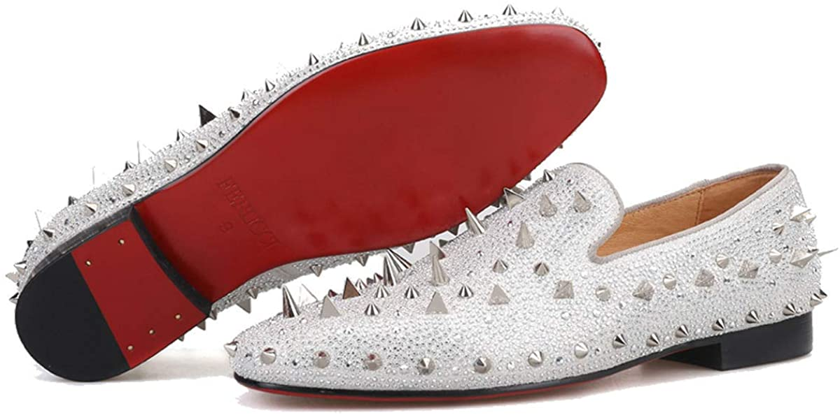 FERUCCI Men Silver Spikes Slippers Loafers Flat with Crystal GZ Rhinestone