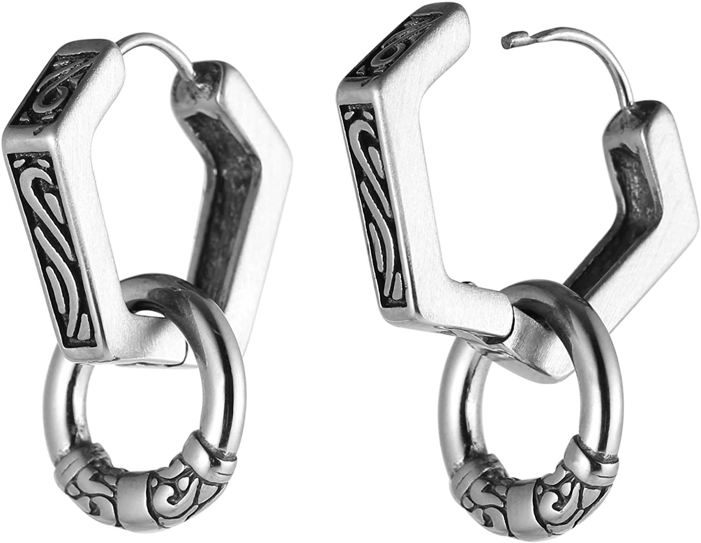 HZMAN Men's Stainless Steel Hoop Earrings Dangle with Ring Earring Studs Goth Biker Drop Earrings
