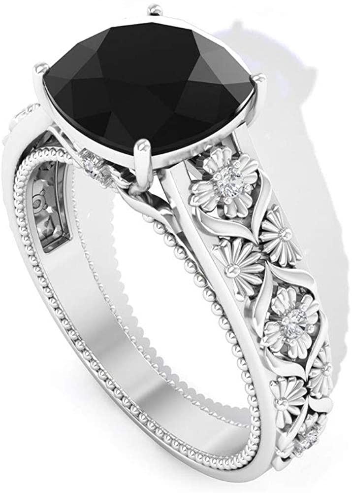2.1 Ct Black Spinel Solitaire Ring, Unique Engagement Ring, Cushion Cut Gemstone Bridal Ring, IGI Certified Diamond IJ-SI Wedding Ring