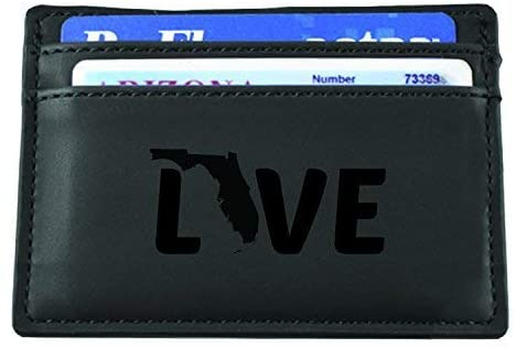 LXG, Inc. Florida-State Outline-Love-European Money Clip Wallet-Black