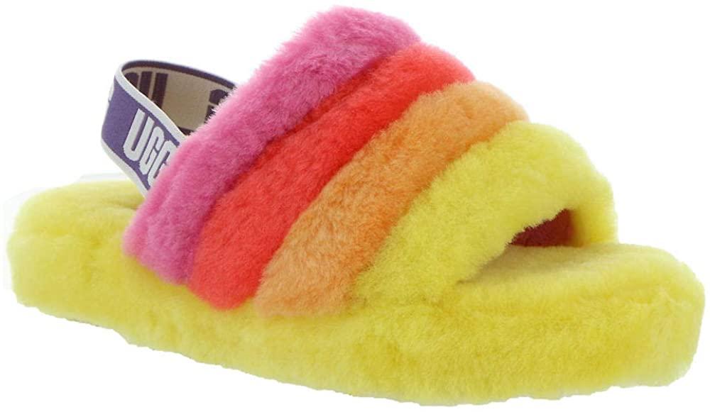 UGG K Fluff Yeah Slide Slipper, Yellow Rainbow, Size 2