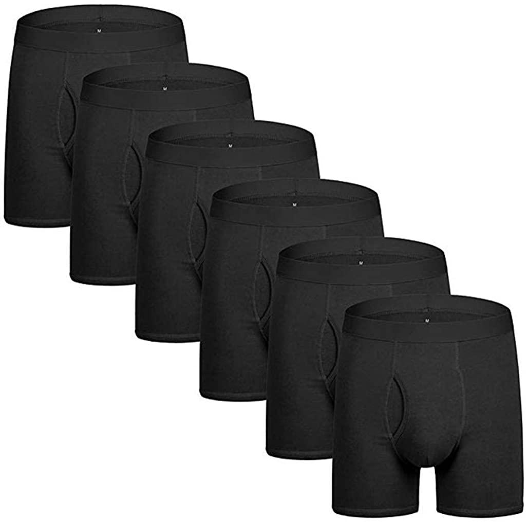 TOTAMALA 6 PC Men's Cotton Black Underwear Sports Beach Pants