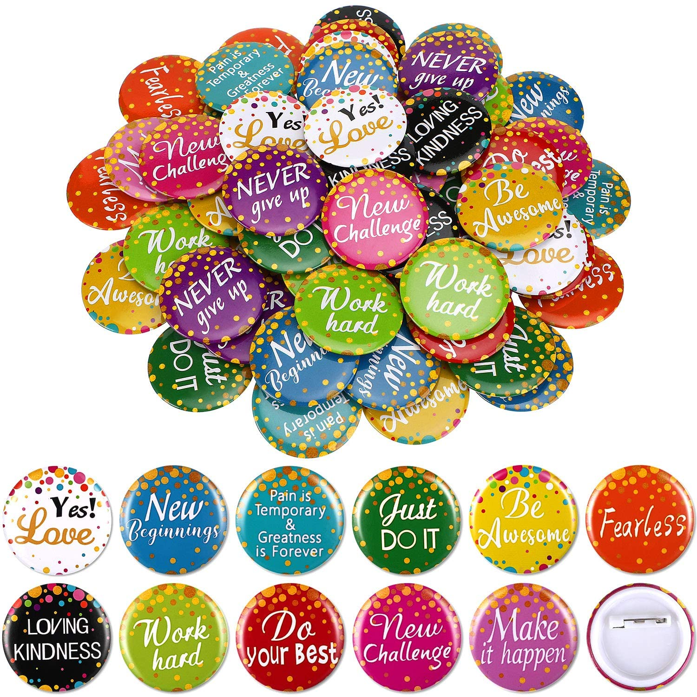 60 Pieces Positive Button Pins Inspirational Round Button Pins Motivation Awards Pins Brooch