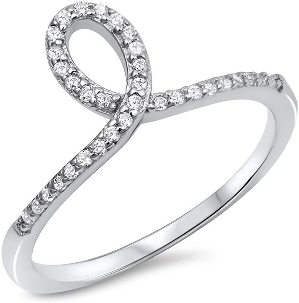 Glitzs Jewels 925 Sterling Silver CZ Ring (Clear/Loop) | Cubic Zirconia Jewelry Gift