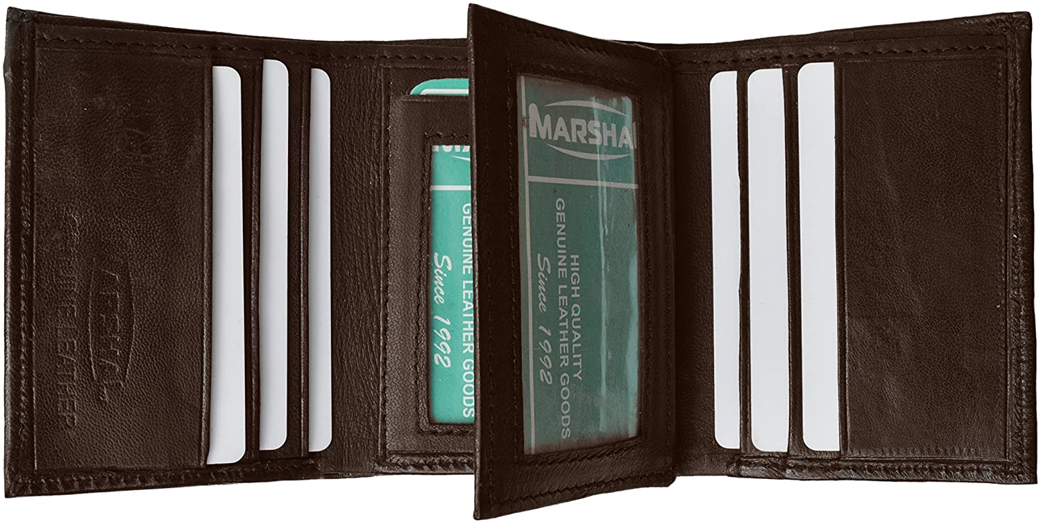 Mens Brown Leather Wallet Lamb Classic Trifold by Marshal wallet