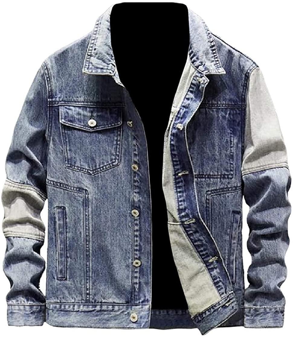 Byhgdnj Men Distressed Casual Unlined Splice Jean Coat Denim Jacket