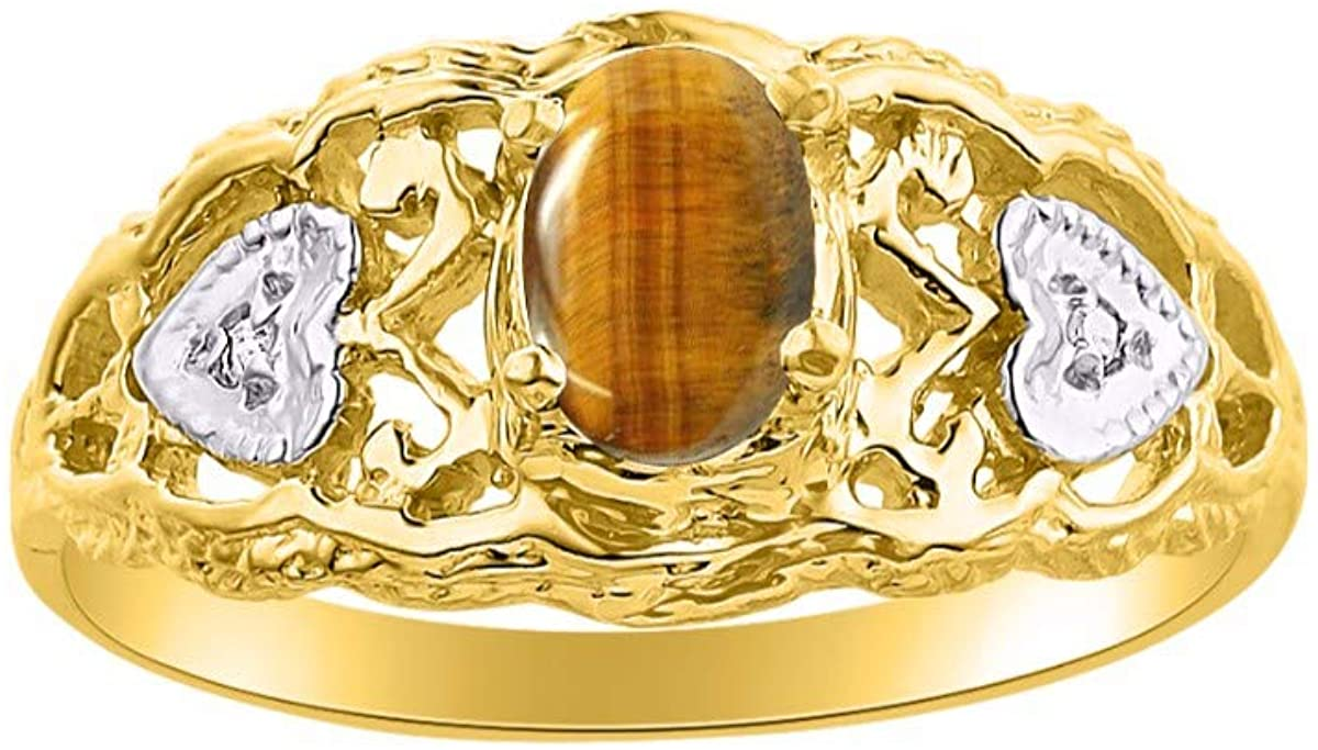 RYLOS Filigree Heart Ring with Gemstone & Genuine Diamonds in 14K Yellow Gold - 6X4MM Color Stone Birthstone Rings