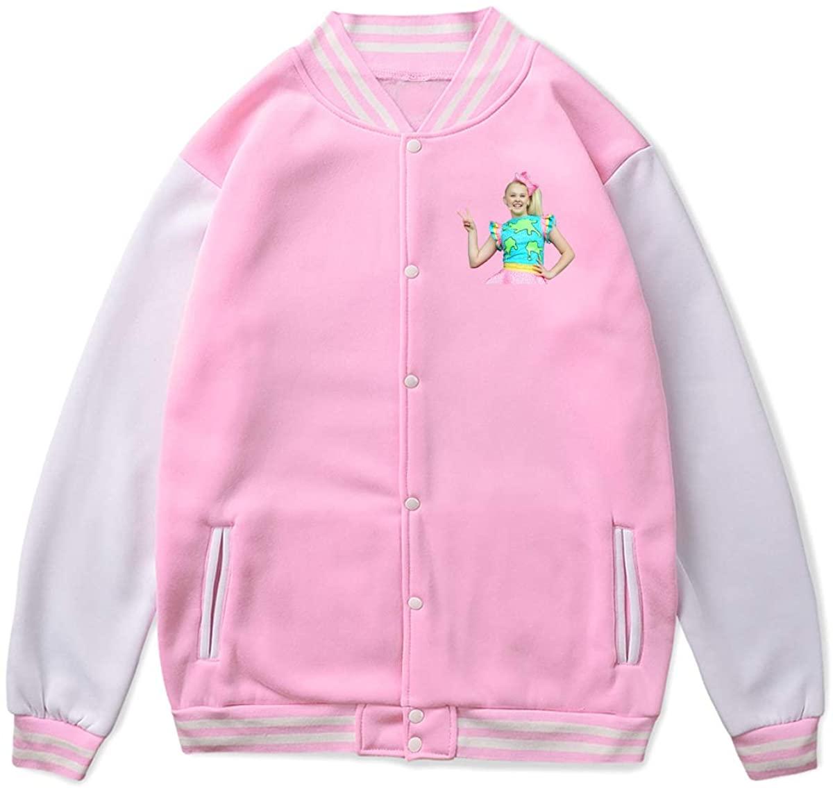 JoJo Siwa Baseball Uniform Front Pockets On Both Sides Cuffs Hem and Neckline Contrast Thread Jacket Sport Coat