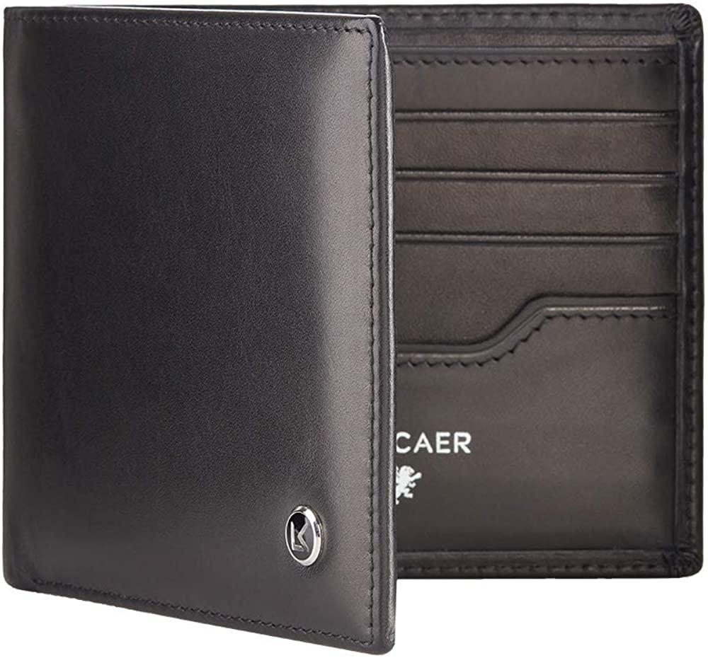 Luxury calfskin leather wallet in black - 8 card slot