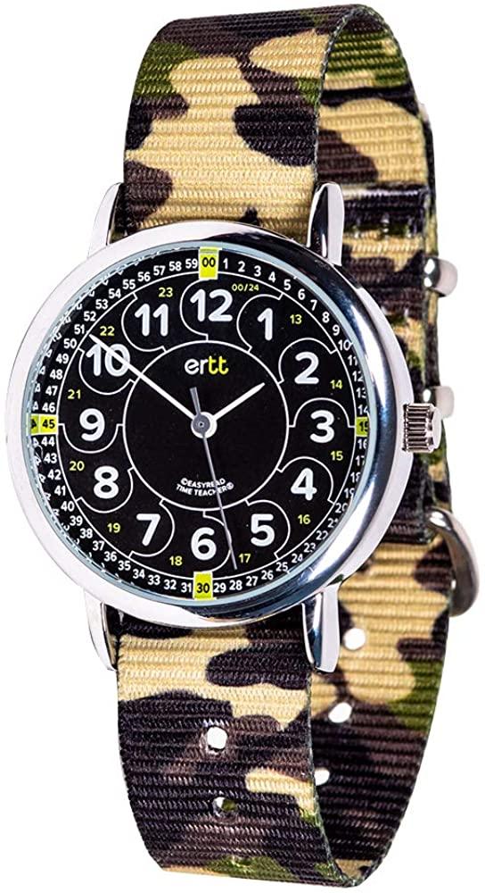 EasyRead Time Teacher Analog Learn The Time Boys Watch Green Camo #ERW-BKG-24-GC