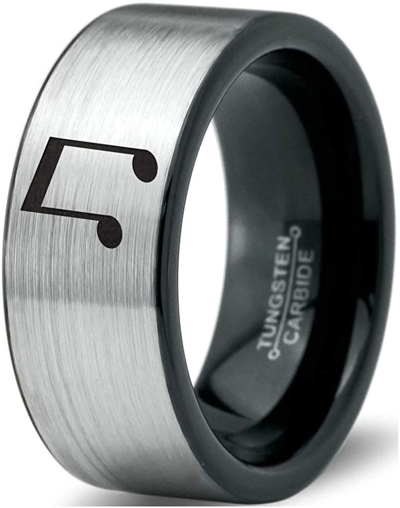 Beam Note Music Ring - Tungsten Band 8mm - Men - Women - 18k Rose Gold Step Bevel Edge - Yellow - Grey - Blue - Black - Brushed - Polished - Wedding - Gift Dome Flat