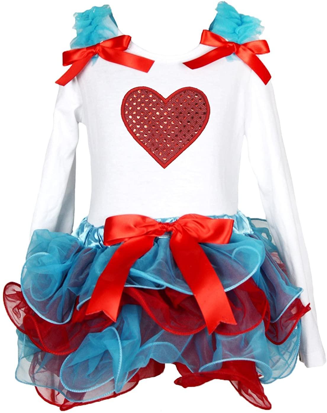 Valentine Dress Bling Heart L/s White Shirt Blue Red Petal Skirt Set 1-8y
