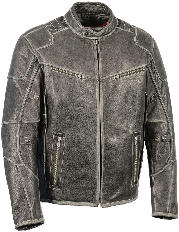 Men's Vintage Distressed Slate Leather Motorcycle Jacket