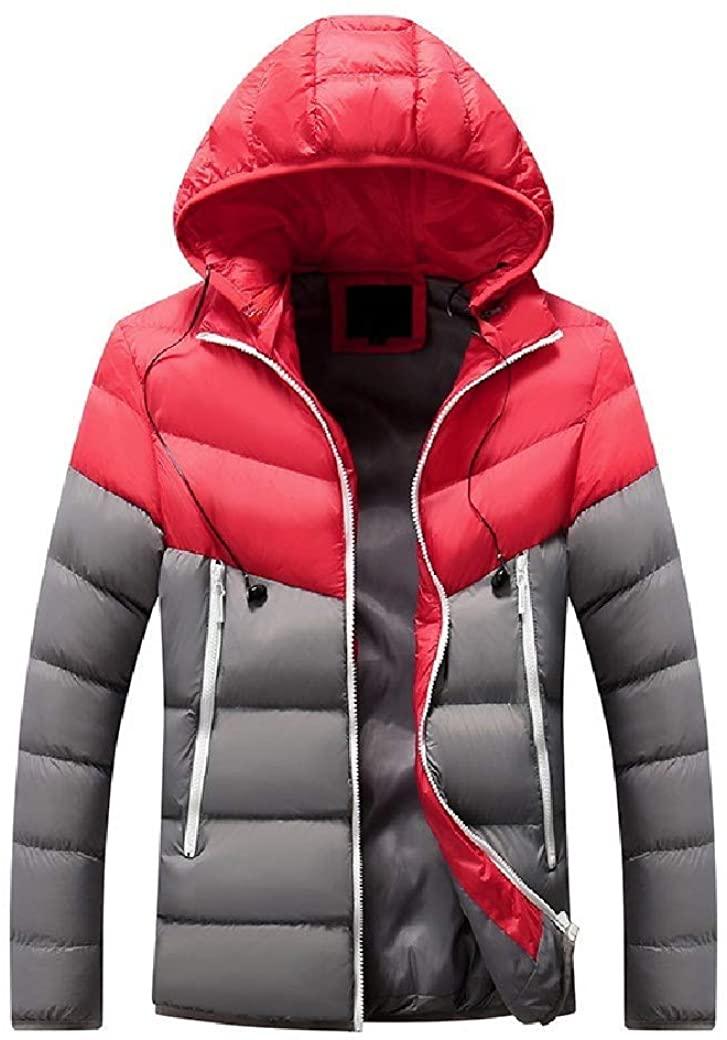 Men Premium Color Splice Fall Winter Hooded Parka Jacket Outwear