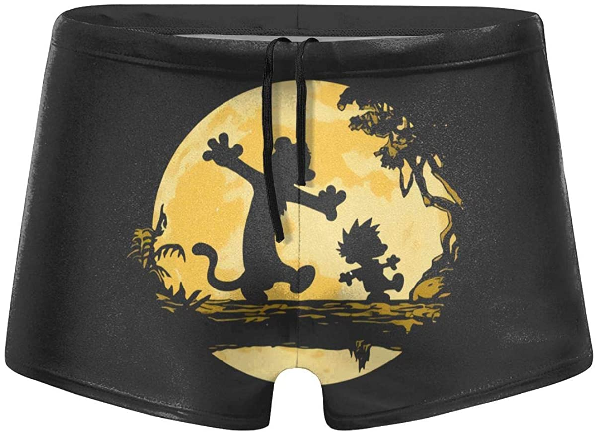 Fulu Cartoon Calvin and Hobbes Men's Comfortable Breathable Quick-Drying Swimsuit Swimming Shorts Black