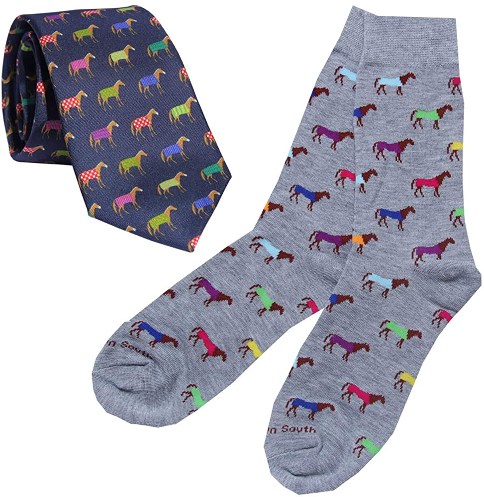 Kentucky Derby Horse Racing Mens Silk Tie and Dress Socks - Colorful Horses